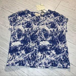 CYNTHIA ROWLEY blue floral linen top SPRING sm J